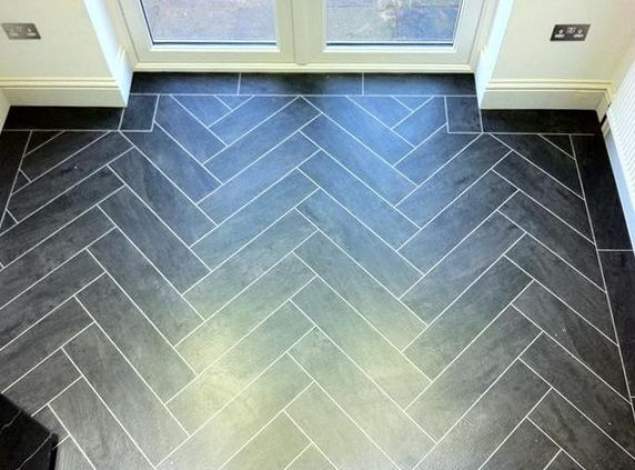 Colonia Welsh Raven Slate herringbone design with contrasting grouting strips