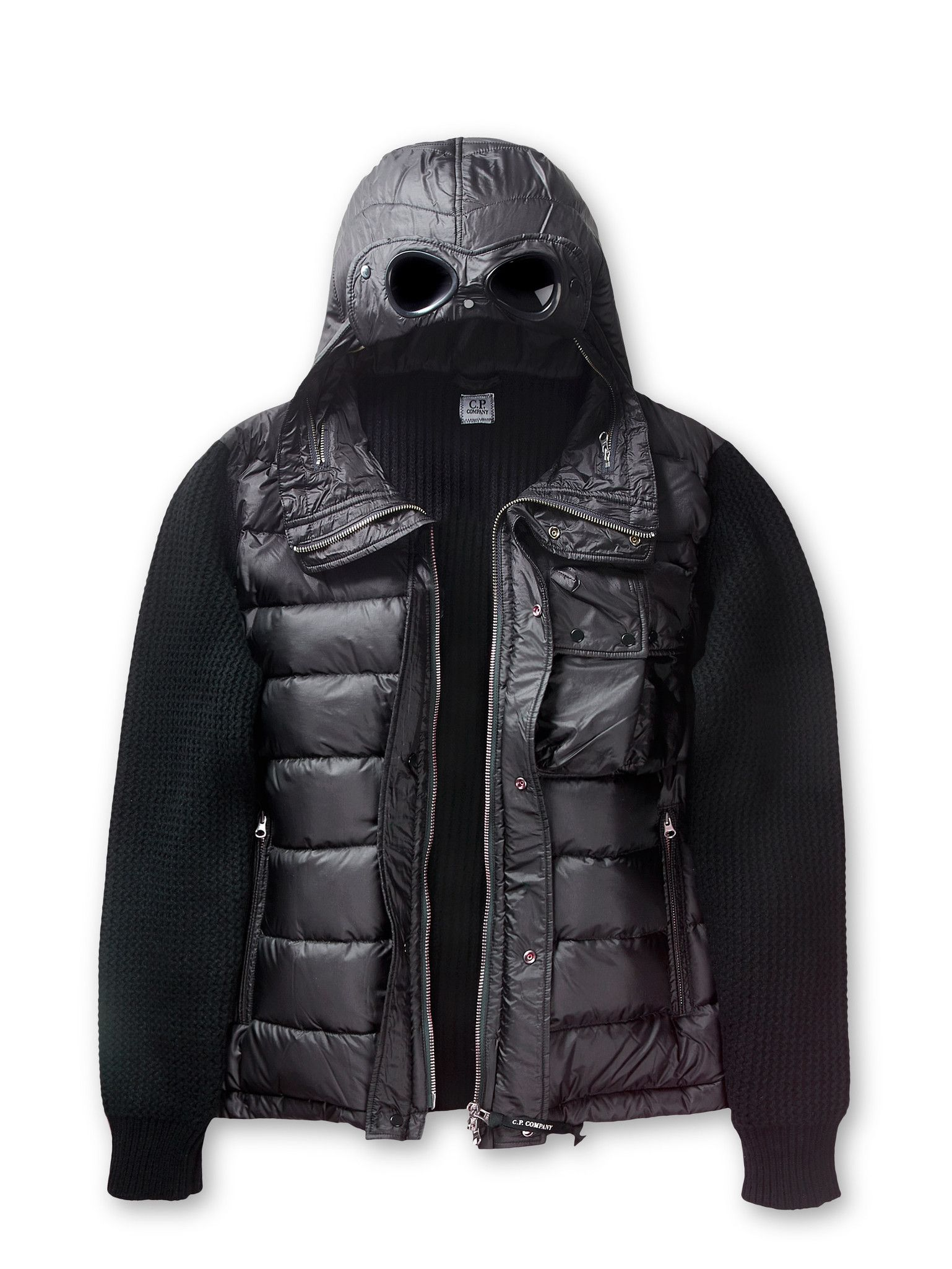 0438176344f7 C.P. Company Supergeelong Goggle Knitted Down Jacket in Black ...