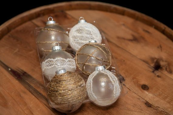 Christmas Ornament, Cottage Chic Decor, Rustic Decor, Country Chic, Country Decor, Burlap and Lace, Twine, Gold Glitter, Glass Ornaments
