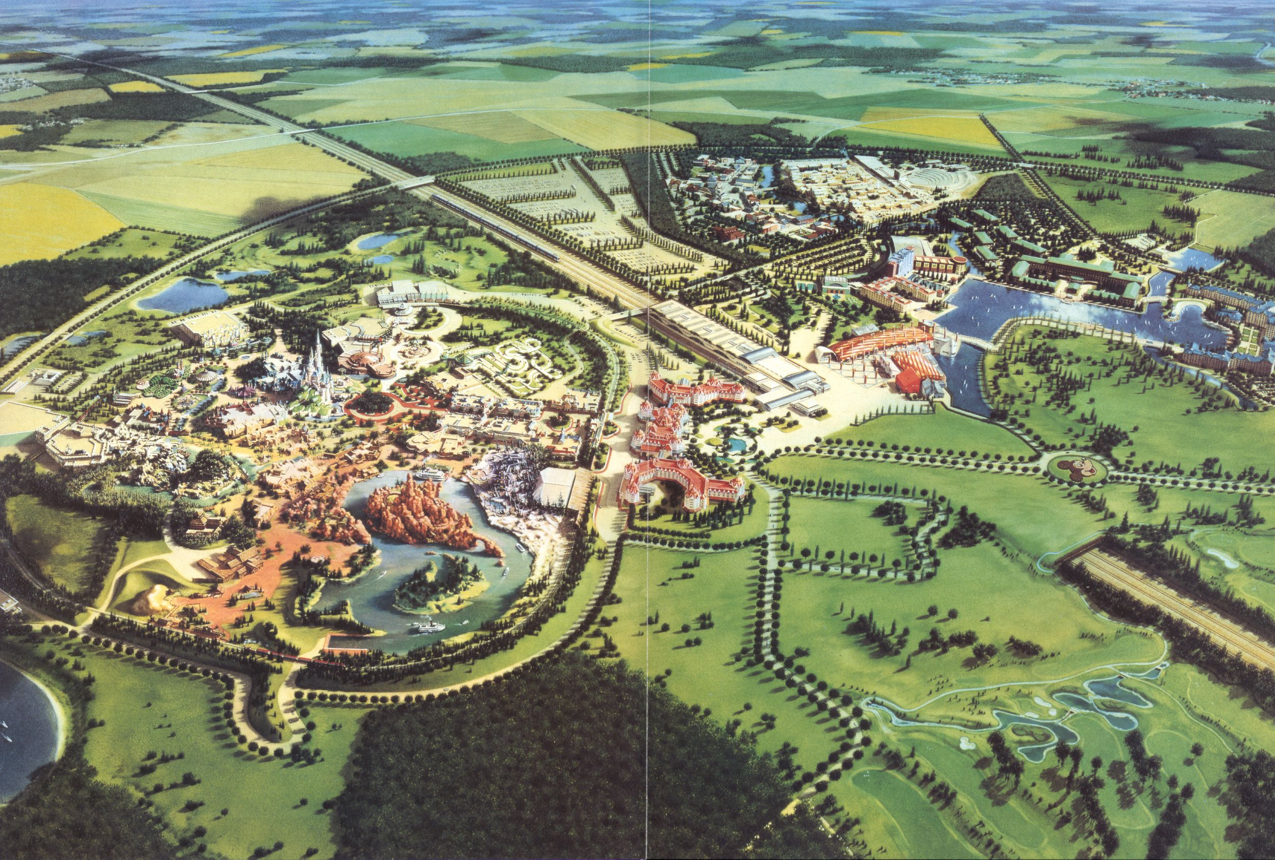 Disneyland Paris. Old map drawing of the park and the hotels ... on