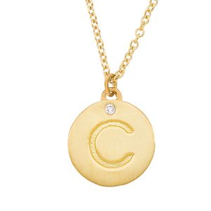 0f9a34e29e79bc Personalized alphabet 14k Yellow gold with White diamond engraved letter C  initial mini disc pendant necklace