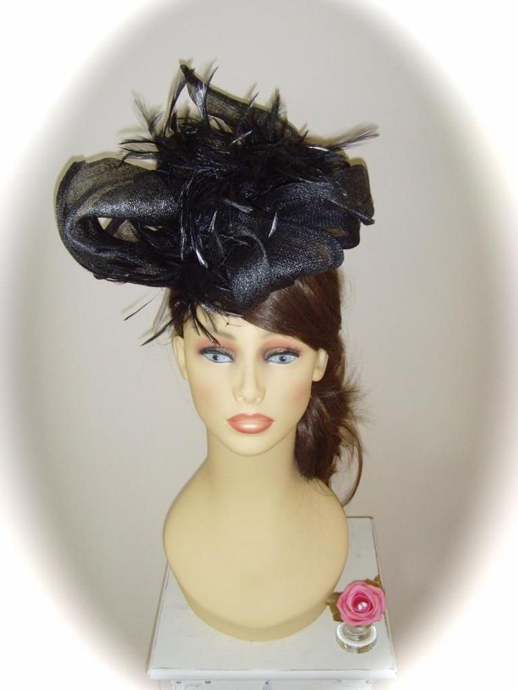 Darcie Mae Fascinator, Black Sinamay & Feathers, RRP £198