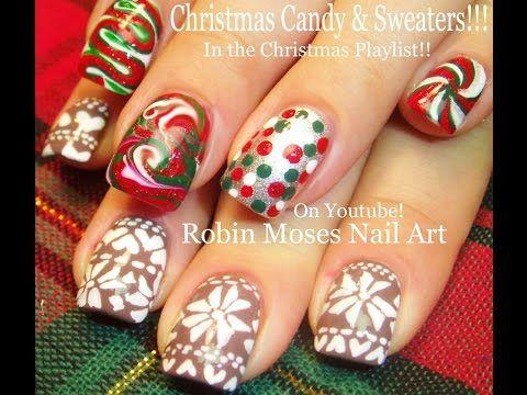 2 Nail Art Tutorials Diy Christmas Nails Xmas Sweaters
