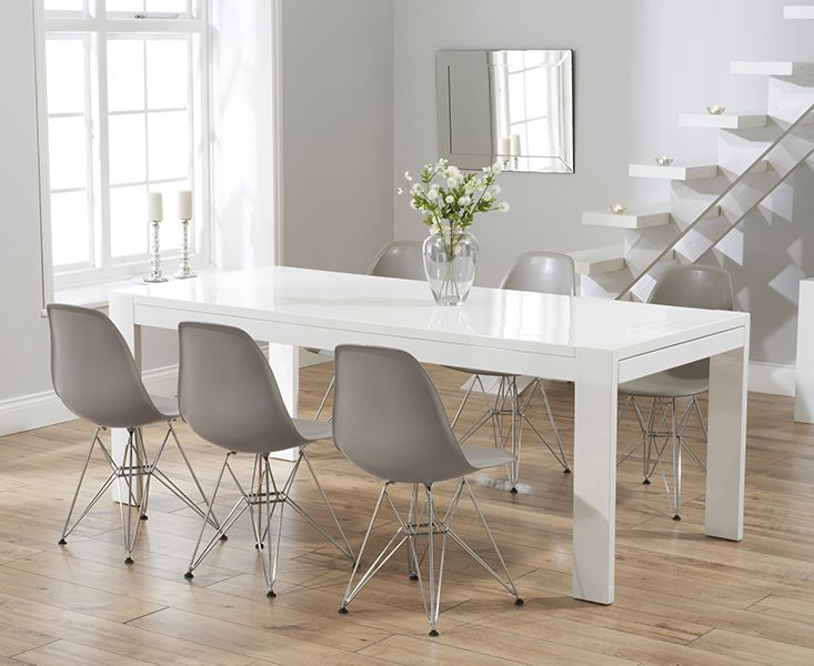 Venice 200cm White High Gloss Extending Dining Table With Charles Eames Style DSR Eiffel Chairs