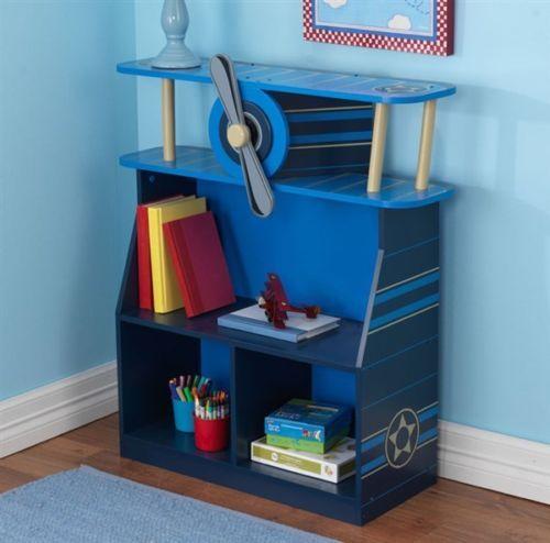 KidKraft 76270 Kids Airplane Bookcase Book Shelf Blue Boys Bedroom Furniture NEW