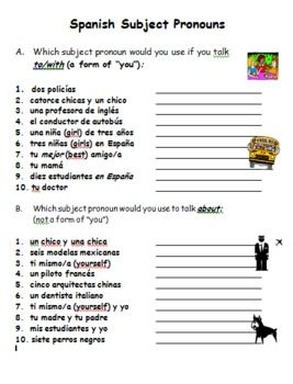 Spanish Subject Pronouns Practice Worksheet Spanish Subject Pronouns Pronouns Practice Thanksgiving Words