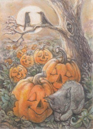 "Cat Art by Lynn Bonnette ""Dreams of Halloween"""