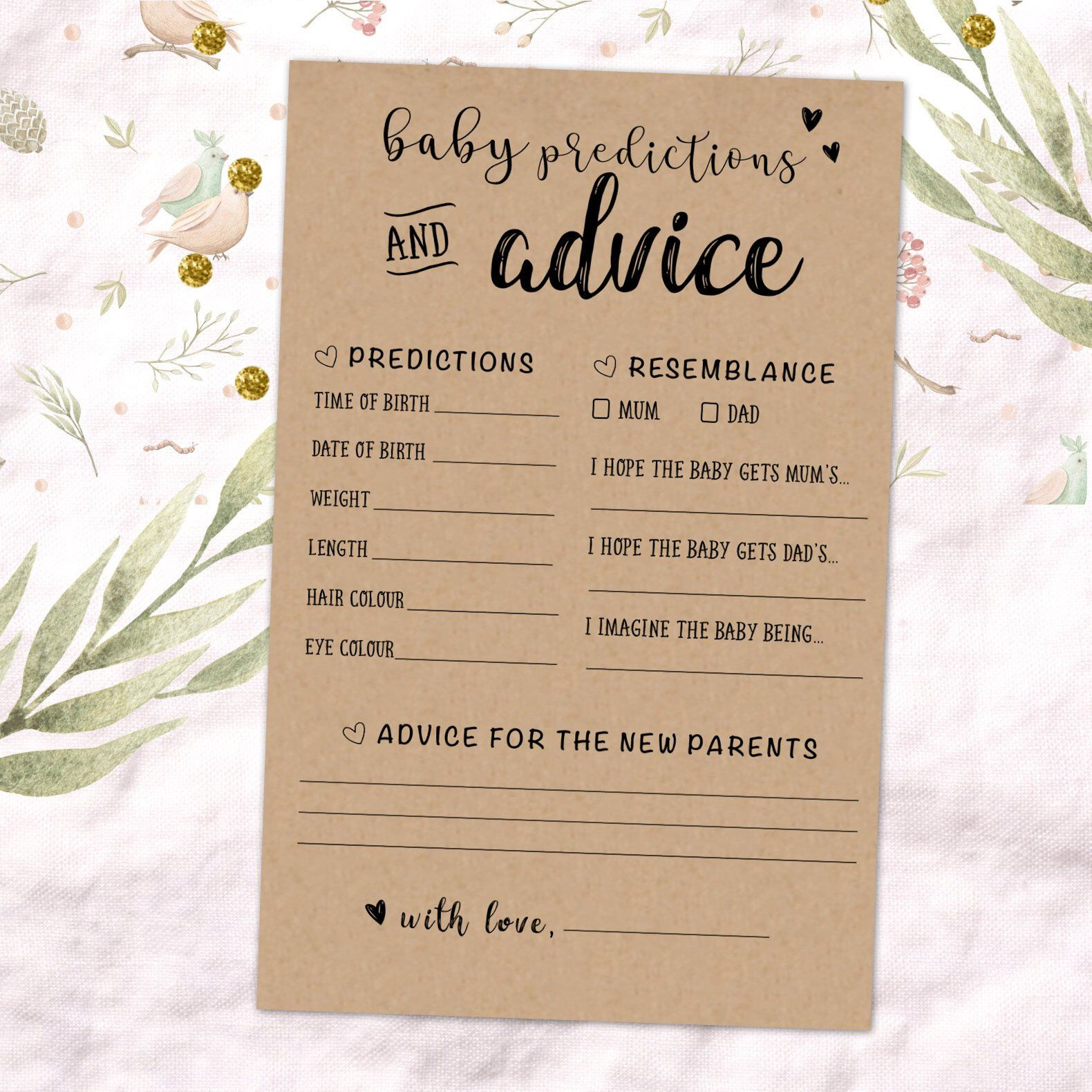 Excited To Share This Item From My Etsy Shop Mum Advice Mum Predictions Australia Baby Advice Baby Prediction Cards Baby Prediction Baby Shower Activities