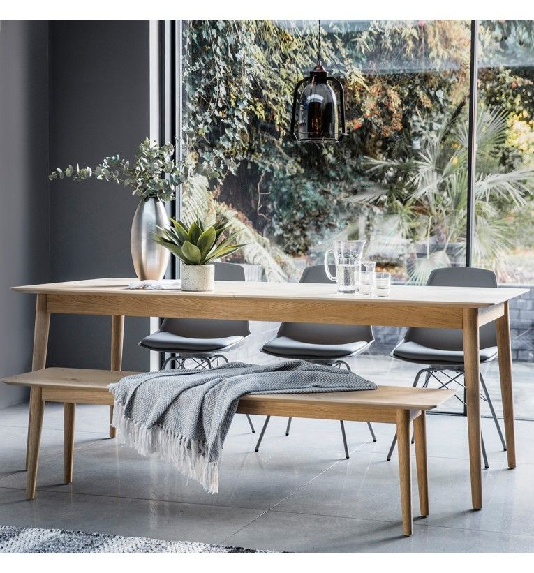 Milano 6 8 Seater Extending Oak Dining Bench Set Scandi Dining