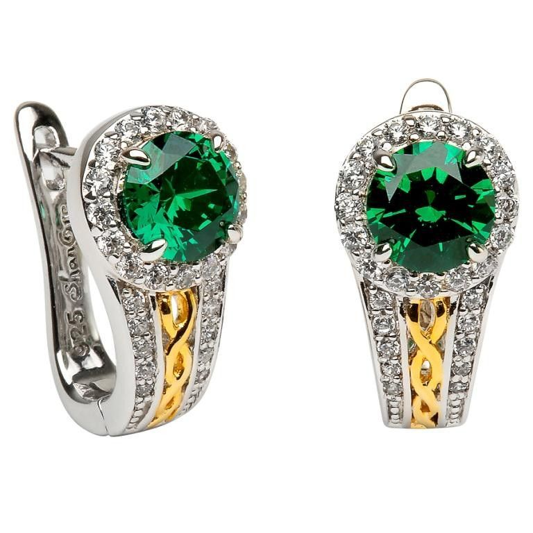 Sterling Silver Irish Claddagh Stud Earrings/Ear Studs With Emerald Green Cubic Zirconia (CZ) Stones CmJhDfjf