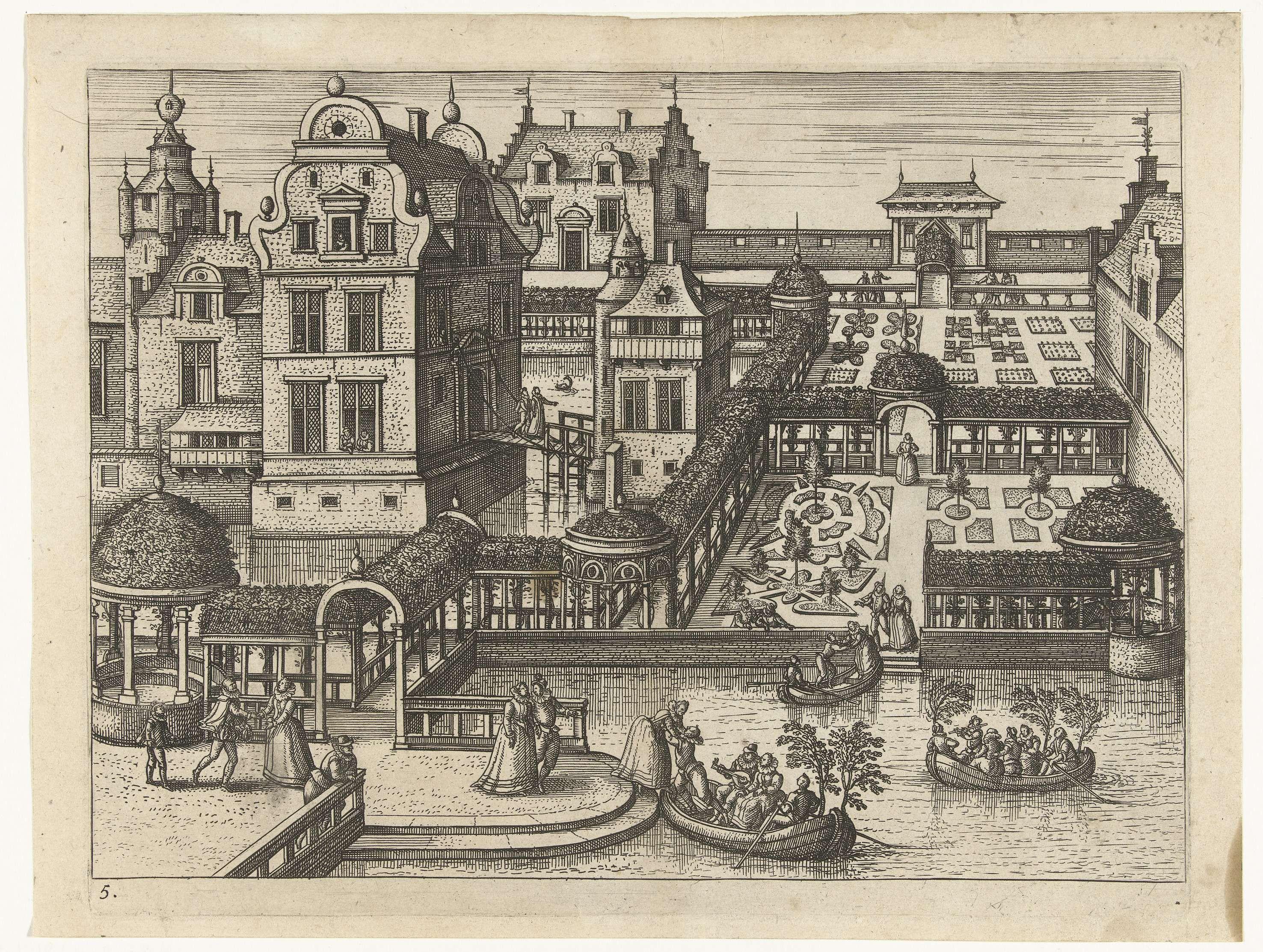Pieter van der Borcht (I) | Boottocht, Pieter van der Borcht (I), Philips Galle, 1545 - 1608 | Hoftuin met een meertje op de voorgrond. Verspreid over de prent zijn paren te zien die samen wandelen. Op de voorgrond varen drie bootjes in het water. De paren spelen muziek in de boot en varen naar de overkant. De serie toont verschillende aspecten van hofmakerij en enkele voorbeelden uit het Oude Testament.