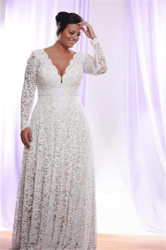 Removable Long Sleeves V Neck Floor Length A Line Lace Plus Size Wedding Dress-715402 11