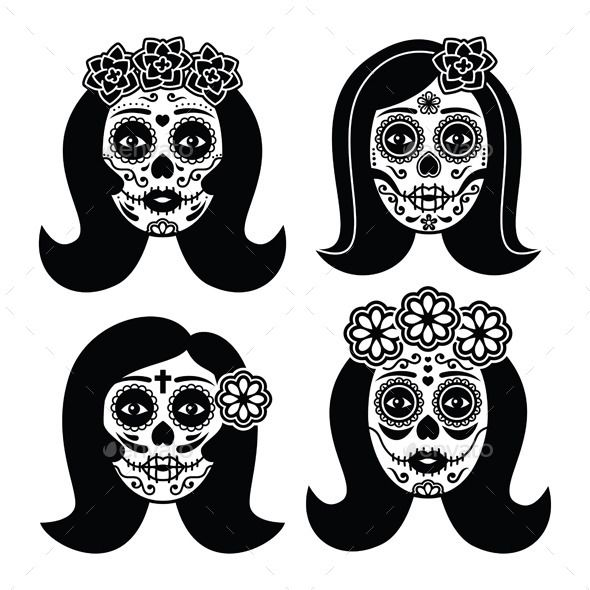 Dia De Los Muertos Woman Skull Icons Set Isolated On WhiteFEATURES 100 Vector Shapes All Groups Have Names Elements Are Ea
