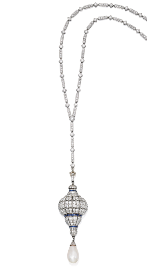 Sapphire, diamond, pearl and platinum watch pendant, on a diamond and platinum necklace, circa 1920.