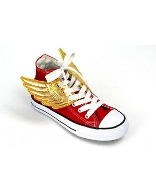 Shoe Wings | Golden shoes, Red converse