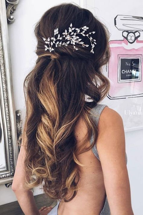 half up half down wedding hairstyles with headpiece | Wedding ...