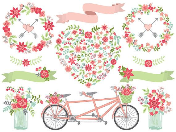 Wedding Clipart Vector Floral Heart Tandem Bike Thecreativemill