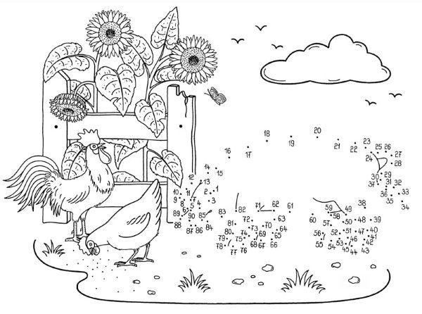 Dibujos De Gallinas Para Colorear E Imprimir: Dibujo De Unir Puntos De Gallinas Y Cerdo: Dibujo Para