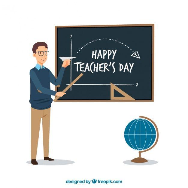 Happy Teacher Teaching Math Background Free Vector Happy Teachers Day Teachers Day Teaching Math