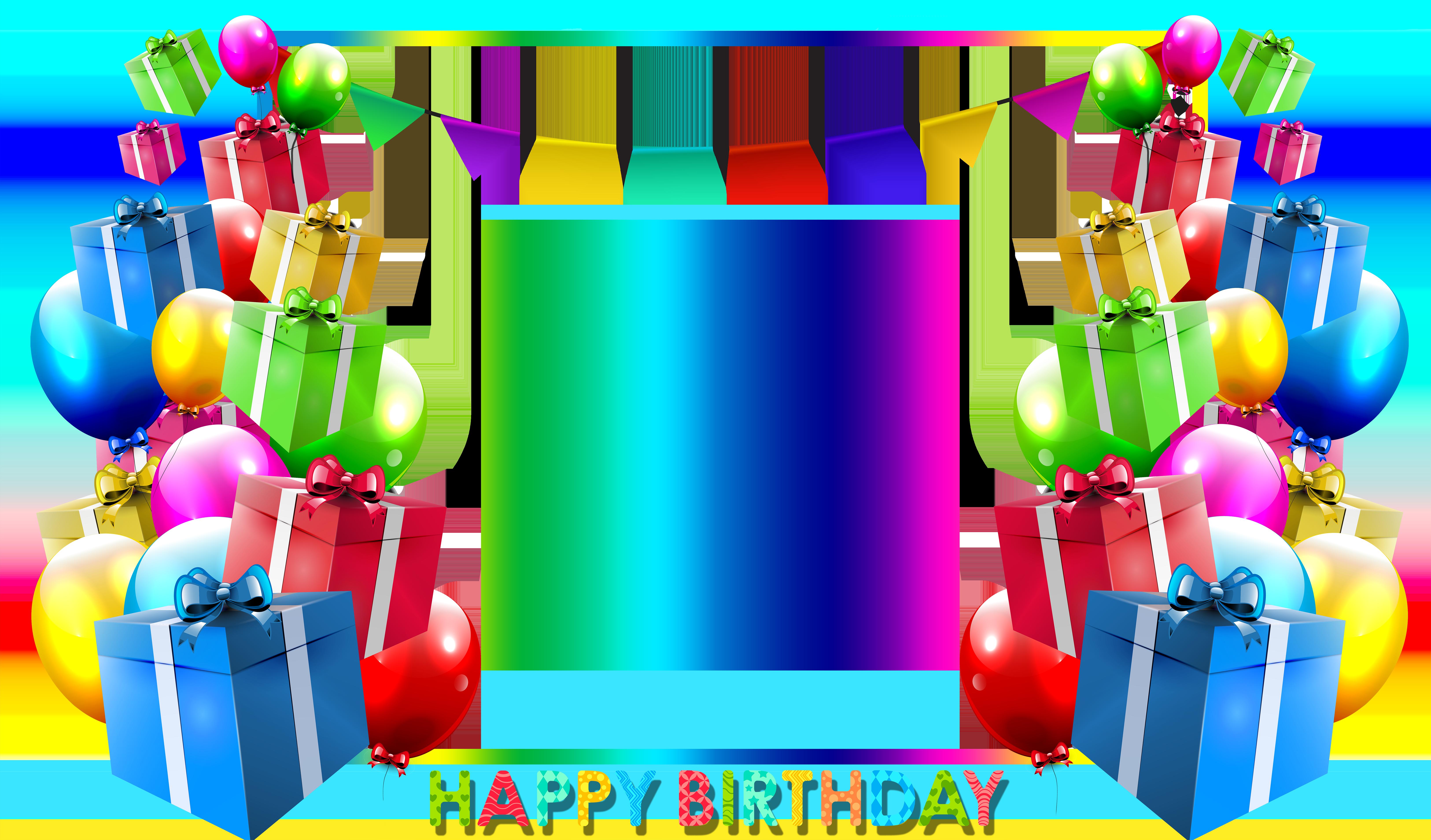 Happy Birthday Png Blue Photo Frame Dengan Gambar