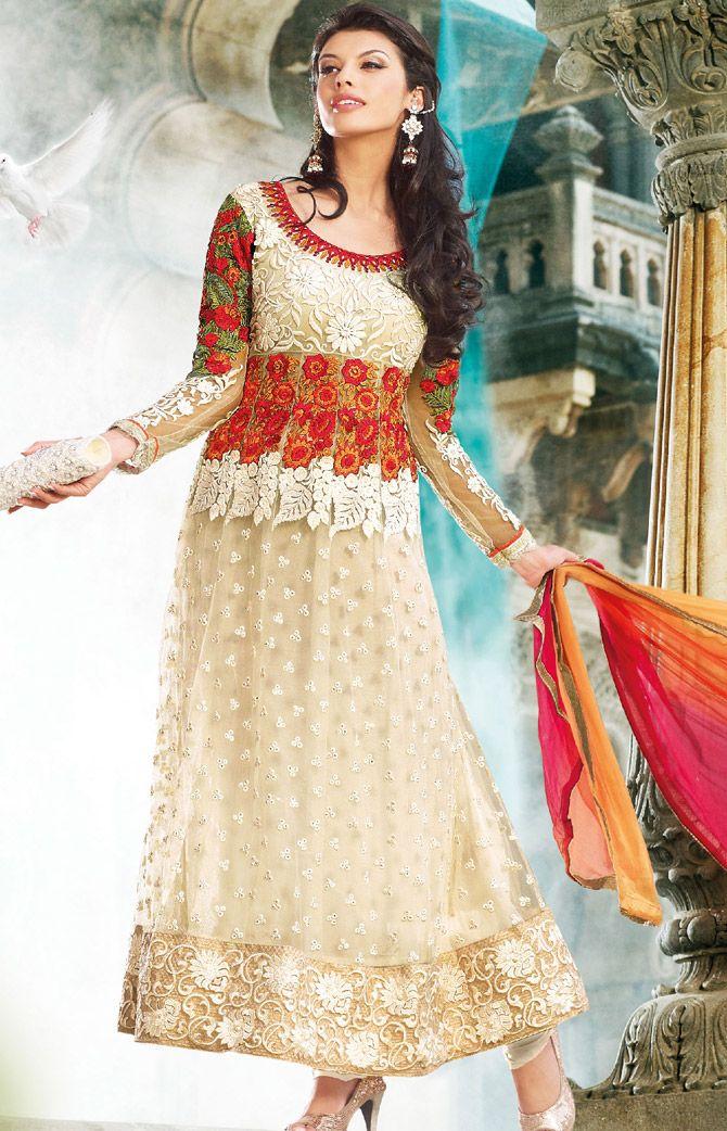 Cream Net #Designer #Pakistani #Salwar #Kameez | @ $151.75