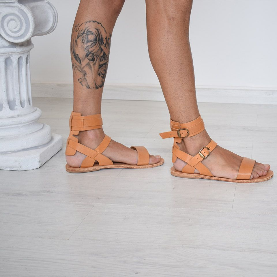 1cd8a9a20 mens gladiator sandals natural tan leather ankle cuff