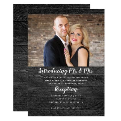 Black Wood Newlyweds Photo Announcement Weddings, Barn weddings - formal invitation style
