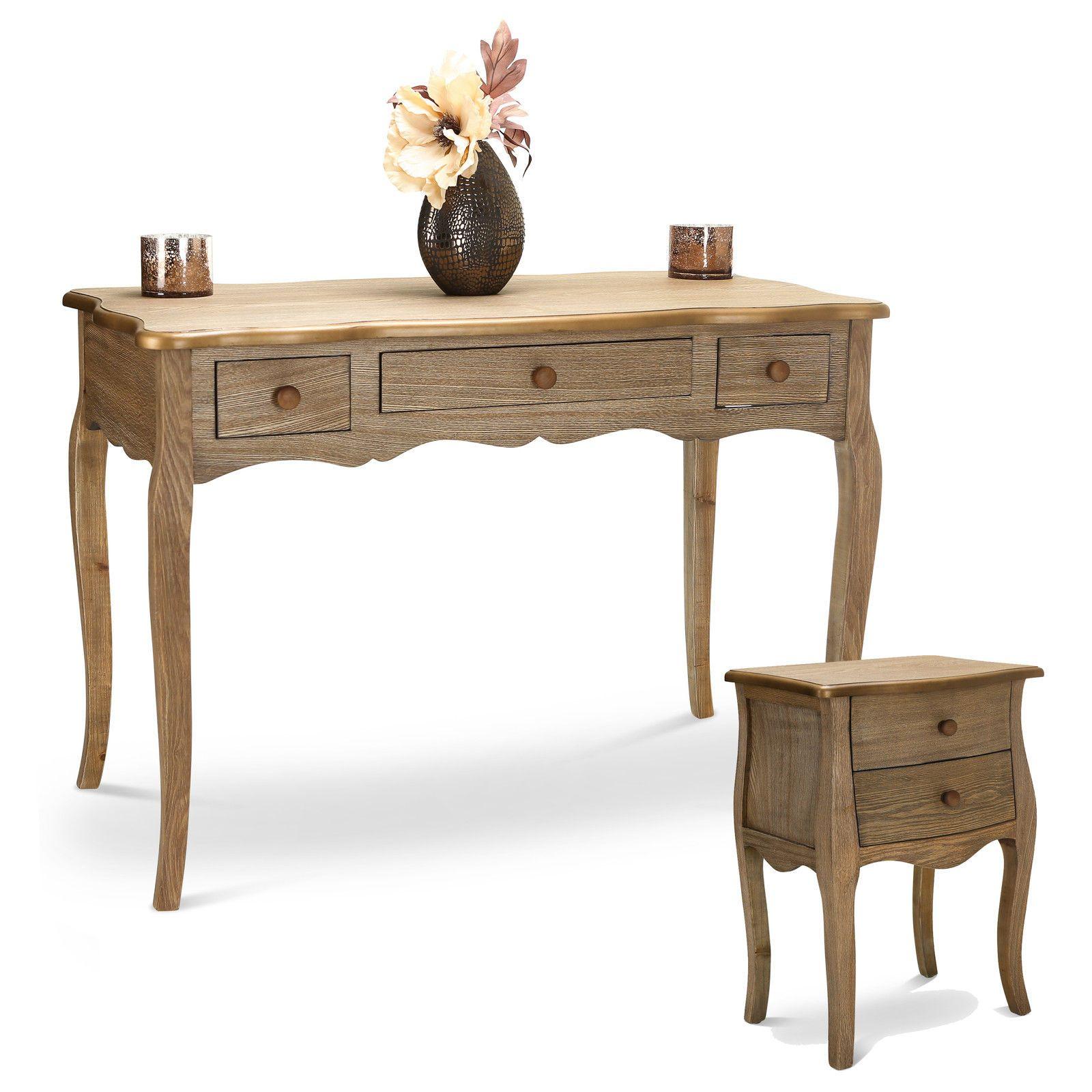 Shabby chic de madera consola mesilla franc s casa de for Bar de madera estilo campo