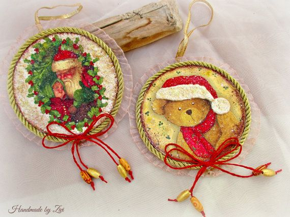 Hanging round decoupage Christmas ornament, Teddy bear xmas ornament