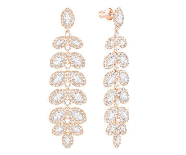f93a45b894dbf Baron Pierced Earrings, White, Rose gold plating | Wedding look ...