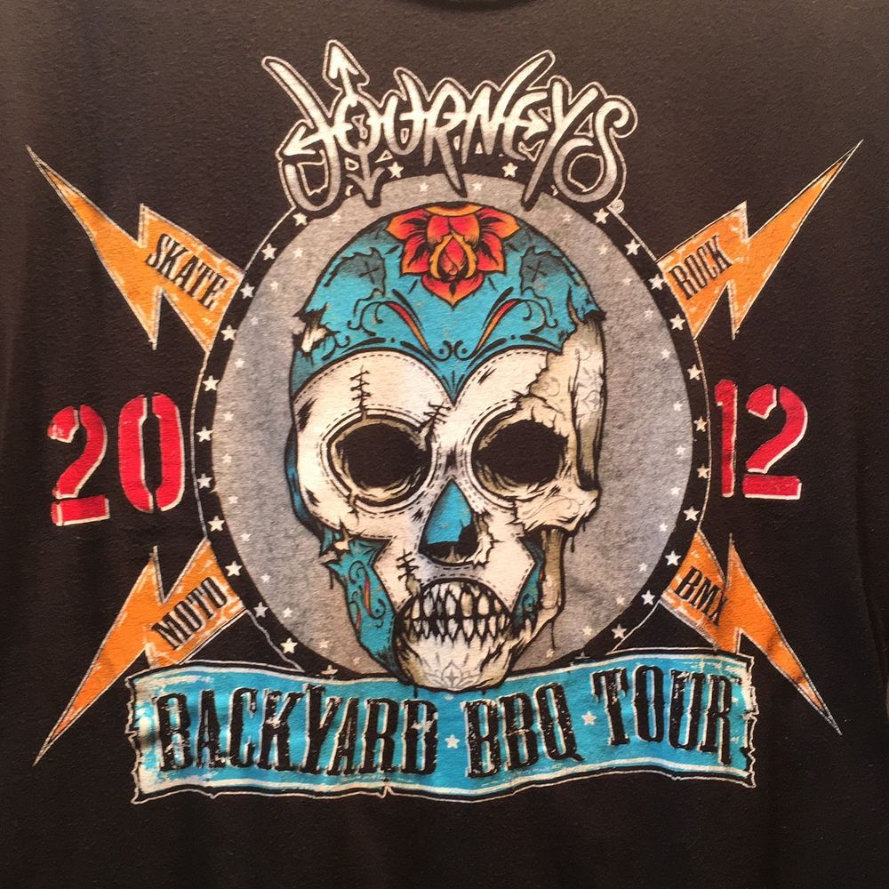Journey 2012 Backyard BBQ Concert Tour T Shirt Size Adult Medium Lucky 13
