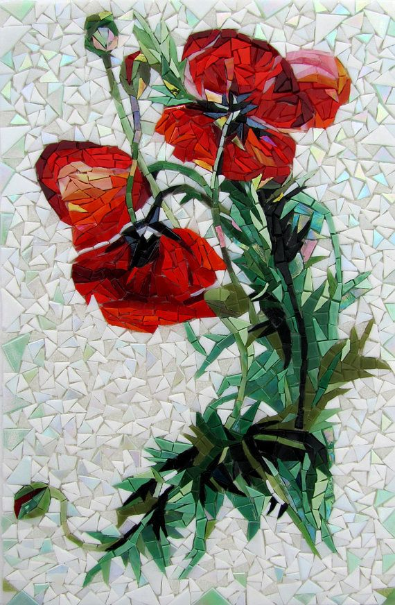 Handcuted glass mosaic picture 'Poppies'