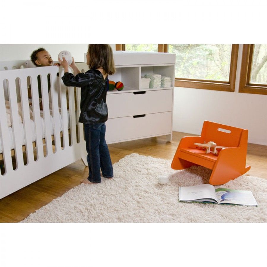 on Square Hiya Convertible Crib Set in White - HIYA WHITE