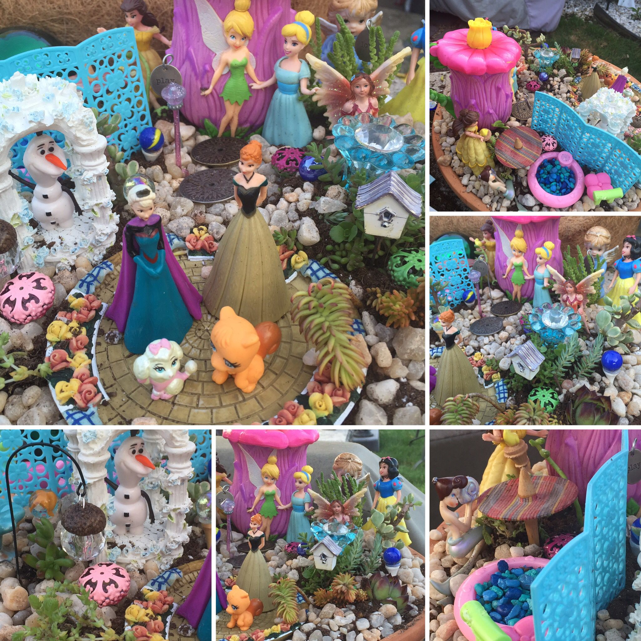 Princess Fairy Garden made out of Polly Pocket dolls