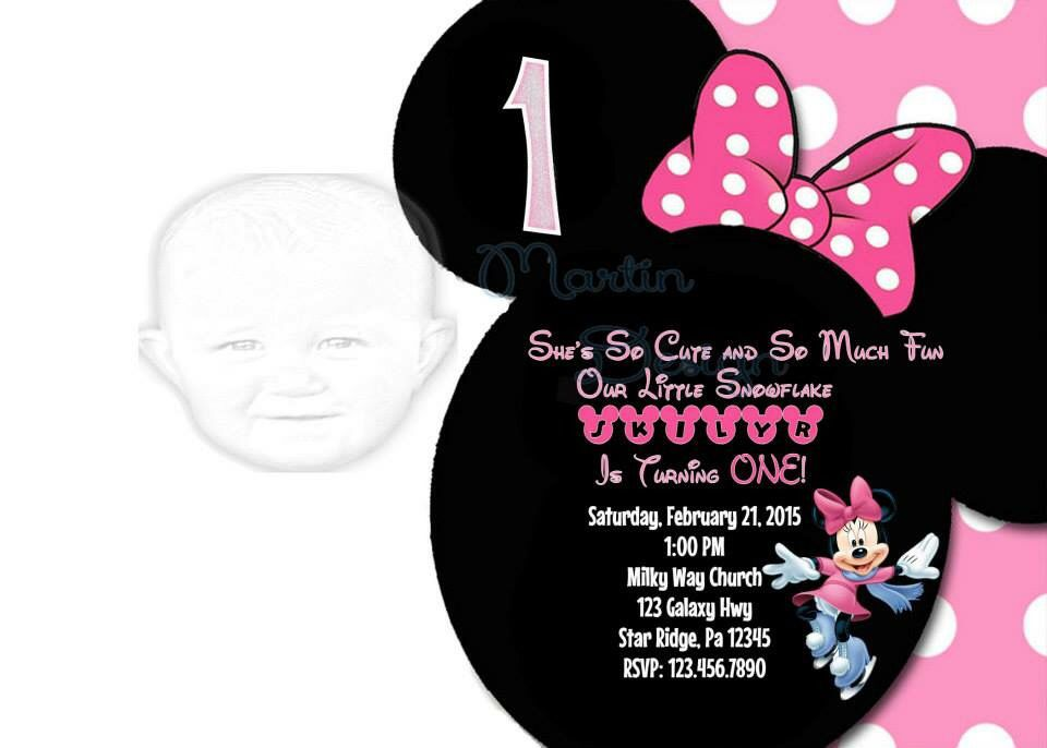 Minnie Mouse Winter Wonderland birthday party invitation made by ...