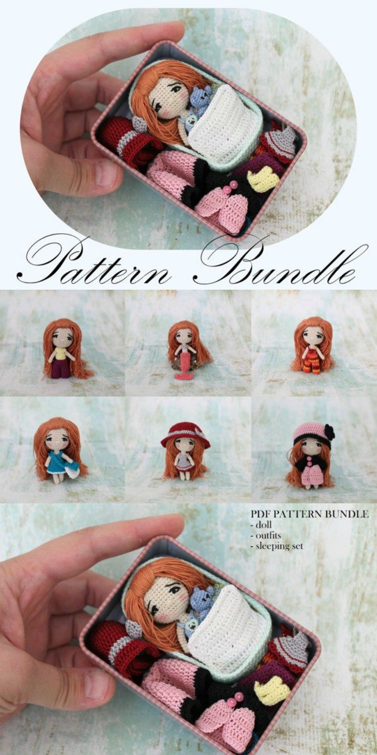 Tiny Crochet Doll Pattern Bundle #littledolls