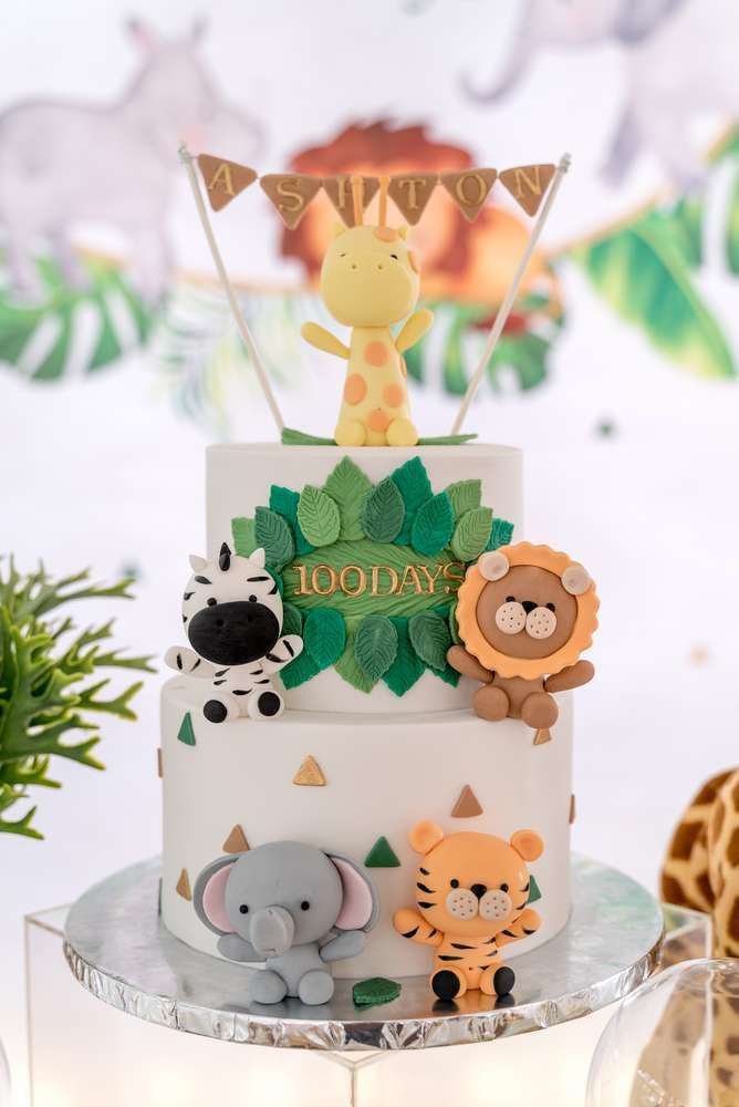 The birthday cake at this Modern Safari Theme birthday party is awesome! See more party ideas and share yours at CatchMyParty.com #catchmyparty #partyideas #safariparty #jungleparty #junglesafaricake #boybirthdayparty