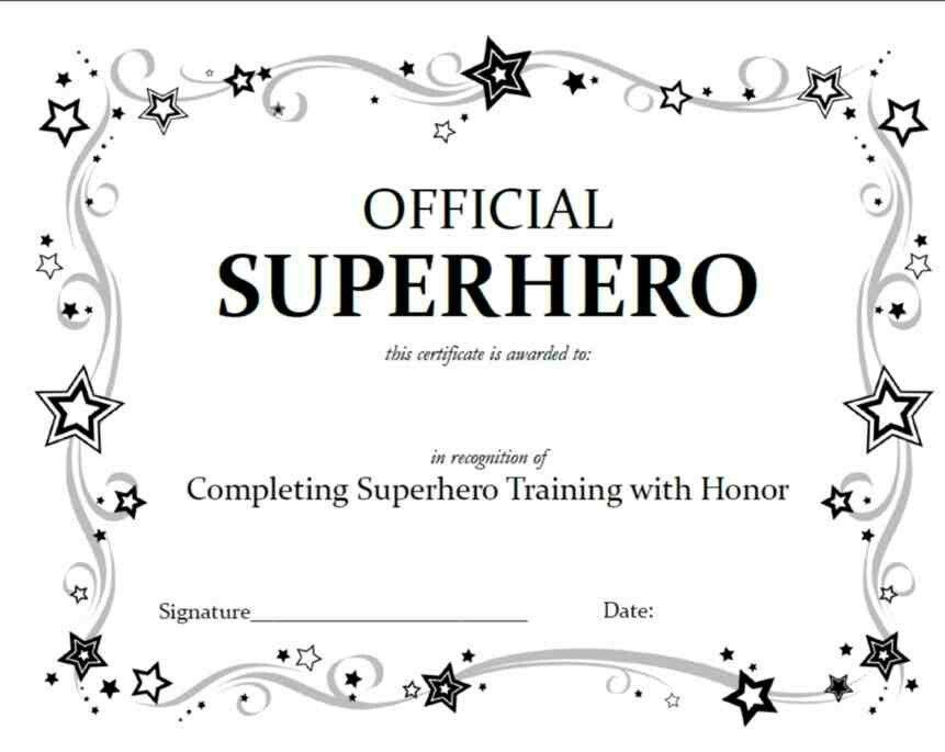 Superhero In Training Certificate Superhero Birthday Party