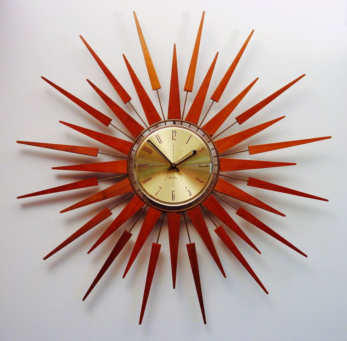 Midcentury Modern Starburst Wall Clock By Seth Thomas, Starflower Design  1960s