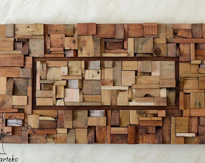 Sculpture wall art, reclaimed wood wall art, living room ...