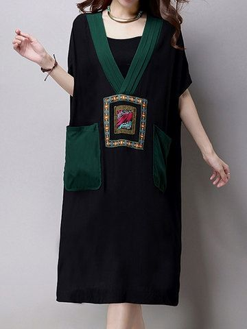 Vintage Embroidered Batwing Sleeve V-neck Loose Dresses