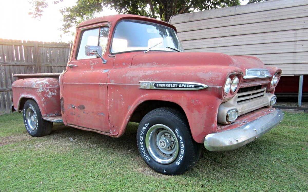 Parked In The 90s 1959 Chevrolet Apache Classic Pickup Trucks Pickup Trucks Chevy Trucks For Sale