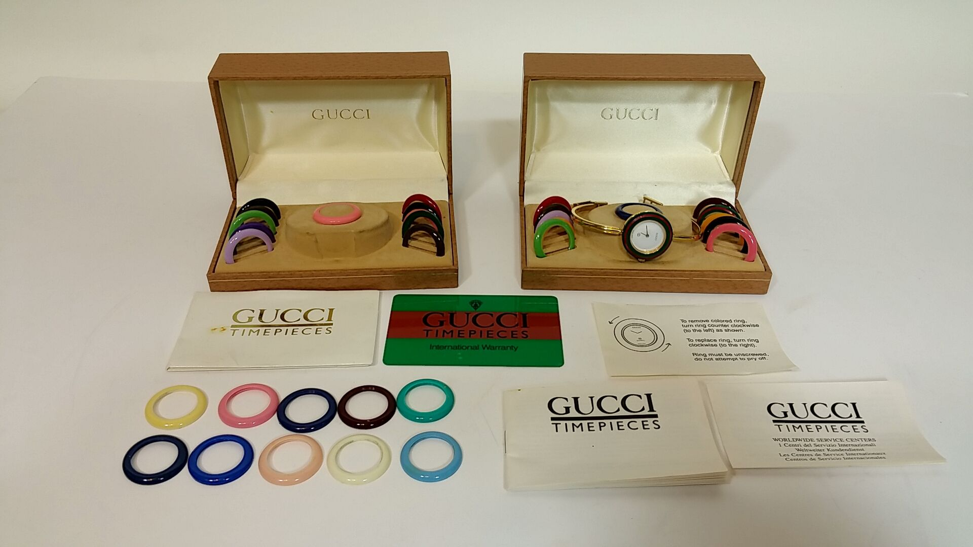 66e7b3d7201ef Authentic GUCCI 1100 L Interchangeable Bezels Bangle Womens Watchw  EXTRAS  - MO
