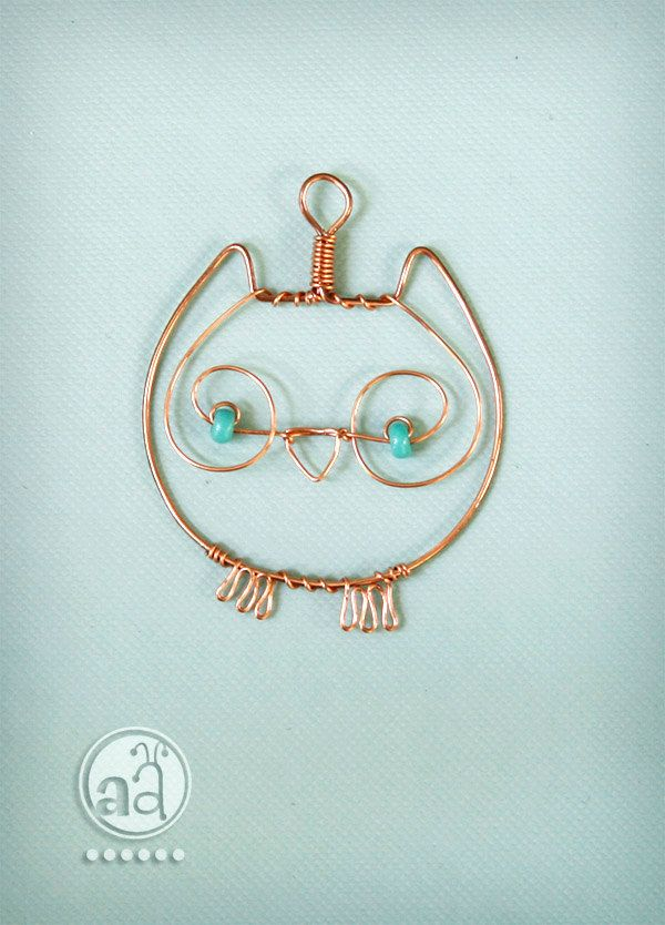 Owl Pendant - necklace hand made with copper wire and teal beads ...