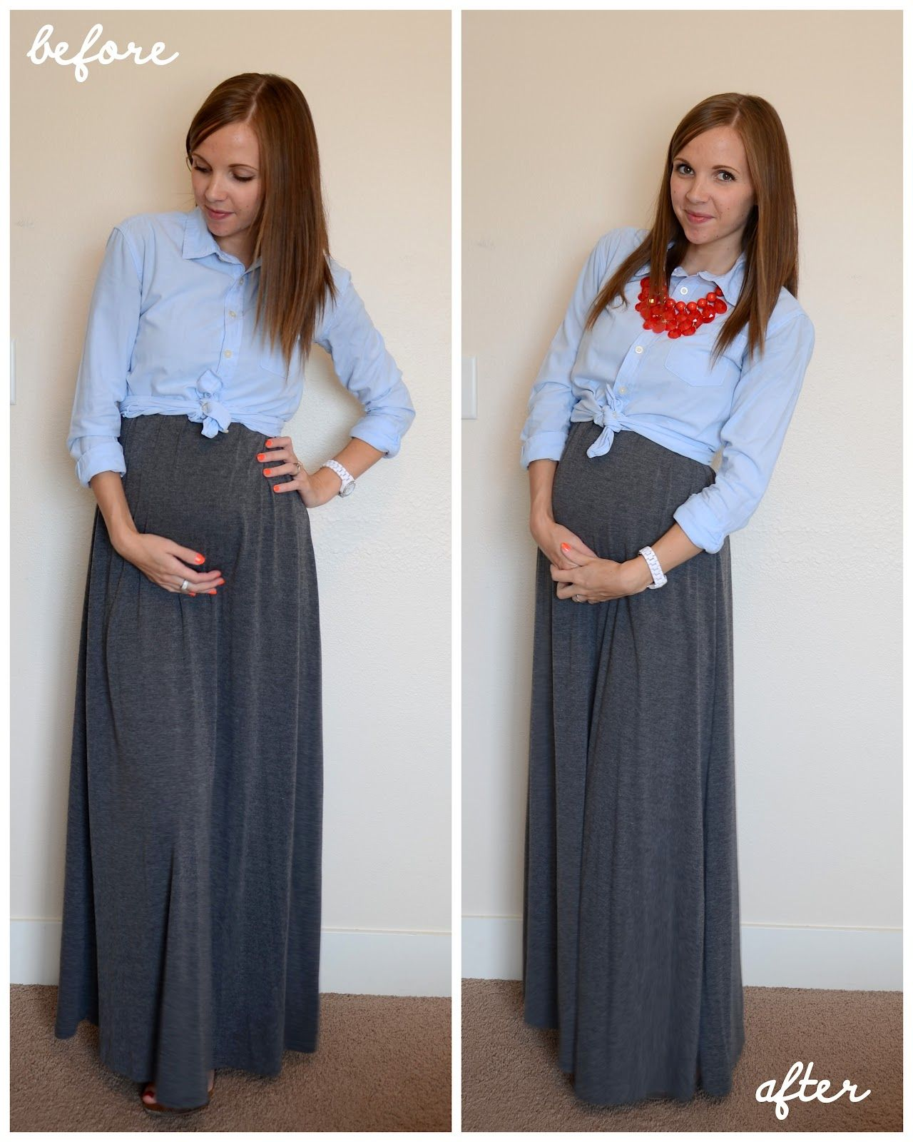 Cute outfits brilliant idea to tie a button down shirt for Cute shirts for maxi skirts
