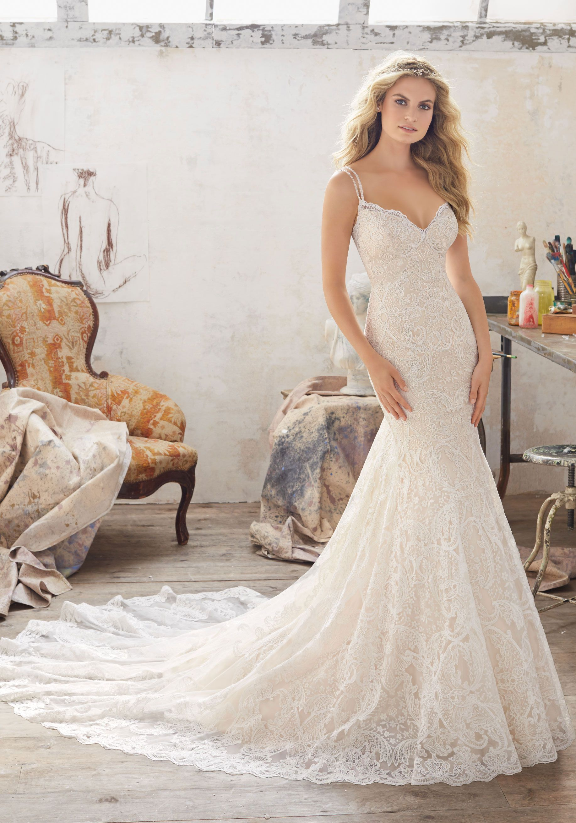 Lovely Morilee by Madeline Gardner uMalia u Romantic Wedding Dress Featuring Beautiful Allover Embroidered