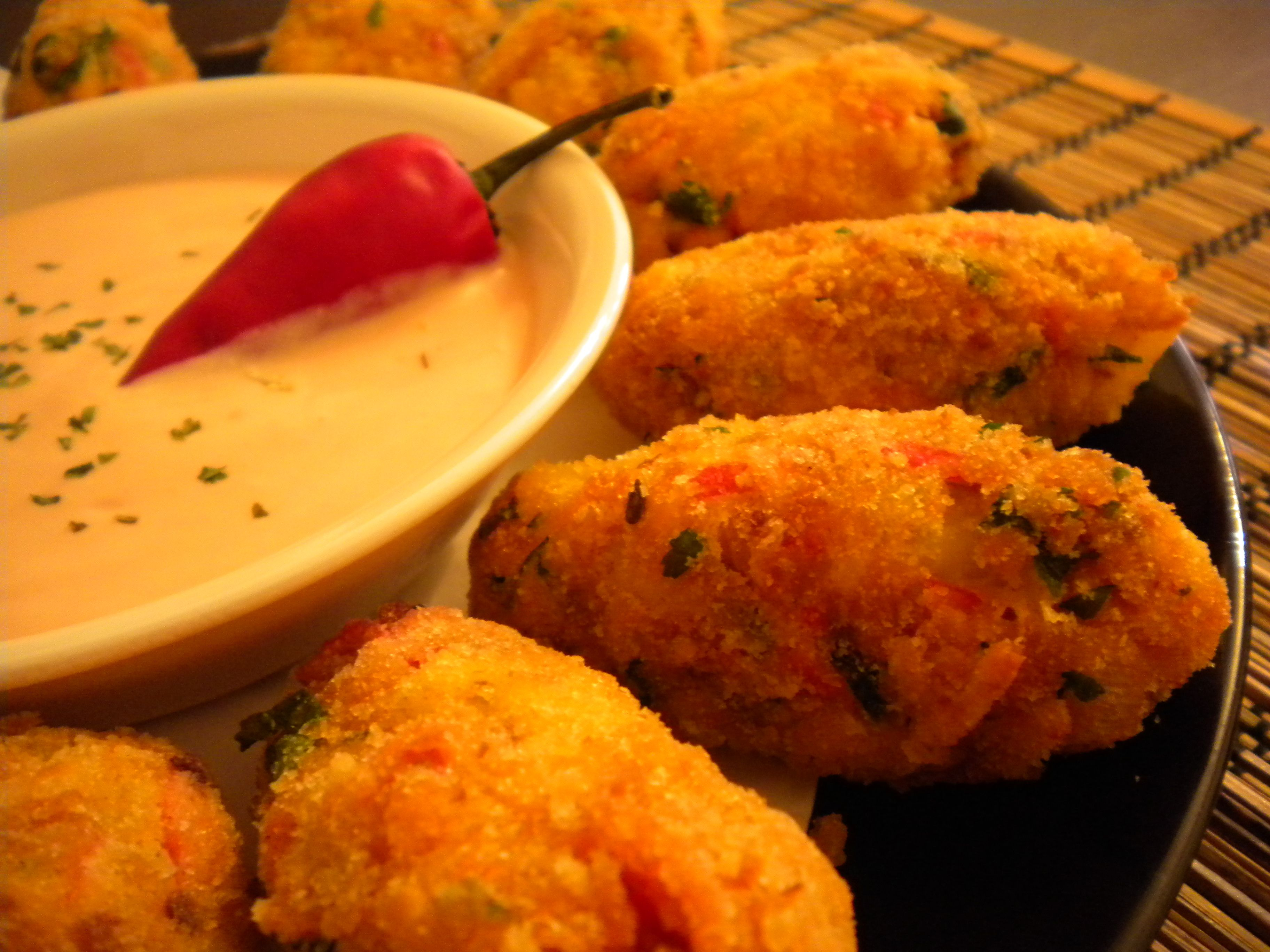 Portuguese Style  Crab Croquettes.   Crab Croquettes are just perfect for an appetizer of for a Party favourite.  Here I'am using imitation crab for the budget consensus, and of course you can use the (Crab Apple Recipes)
