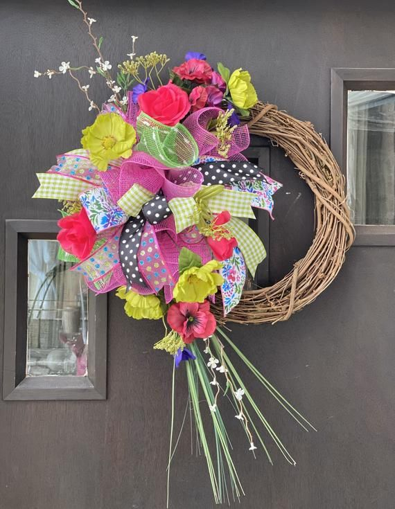 Photo of Spring tulip vine wreath for everyday wear, Mother's Day gift, bridal or baby shower, wedding door