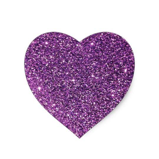 Purple Glitter Heart Stickers Zazzle Com Heart Stickers Glitter Hearts Purple Glitter