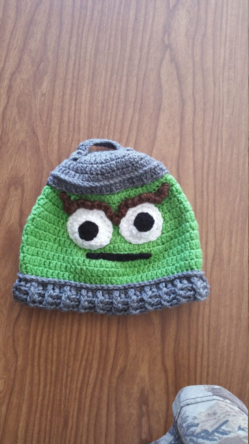 1ab684b6144 Oscar the Grouch crochet hat by VintageVioletLove on Etsy